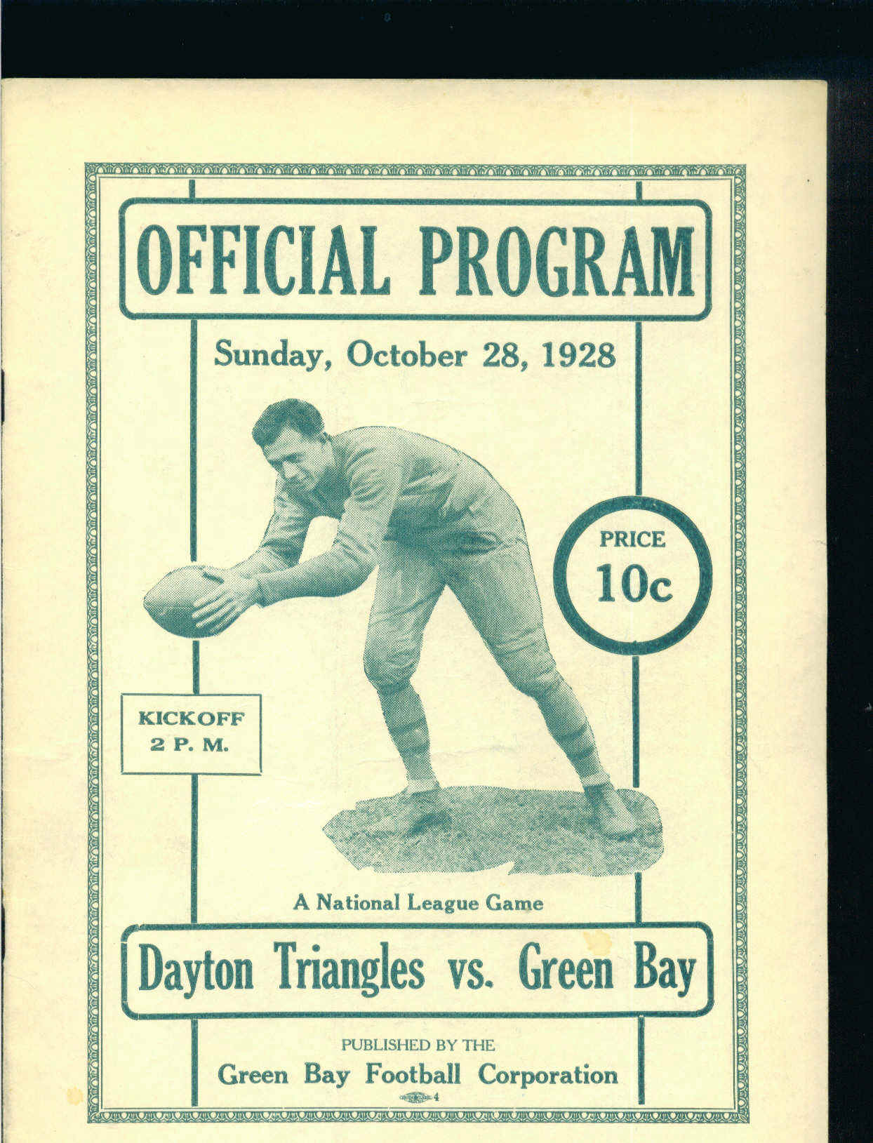 NFL - Green Bay Packers vs. Dayton Triangles, October 28, 1928